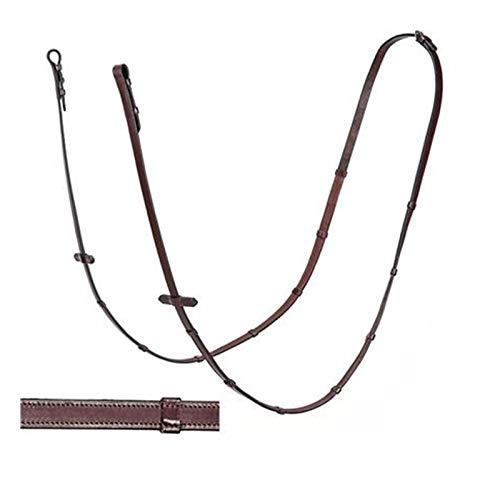 Equiline Gummi Zügel, Gummizügel mit Stege, Oberseite Leder, 16mm Farbe braun