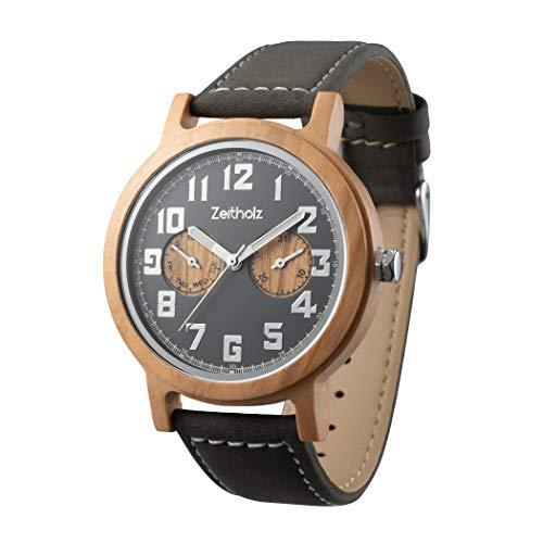 Zeitholz Holzuhr für Herren - Modell Klingenberg, handgefertigt aus 100% natürlichem Oliven mit Quarzwerk - Leichte analoge Uhr mit Holzmaserung für Ihn