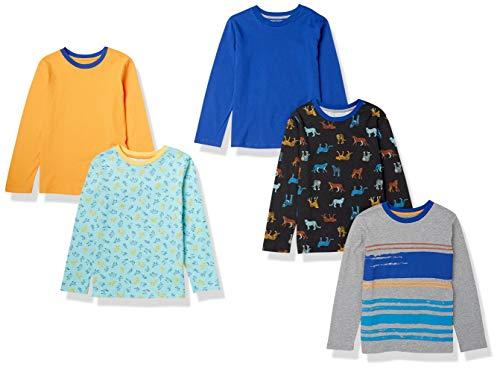 Amazon Essentials Long-Sleeve T-Shirts Camiseta, Paquete de 5 Guepardo, XL, Pack de 5