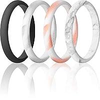 ThunderFit レディース 薄手 重ねられるシリコンリング 結婚指輪 幅2.5mm 厚さ1.8mm 10.5 - 11 (20.6mm)