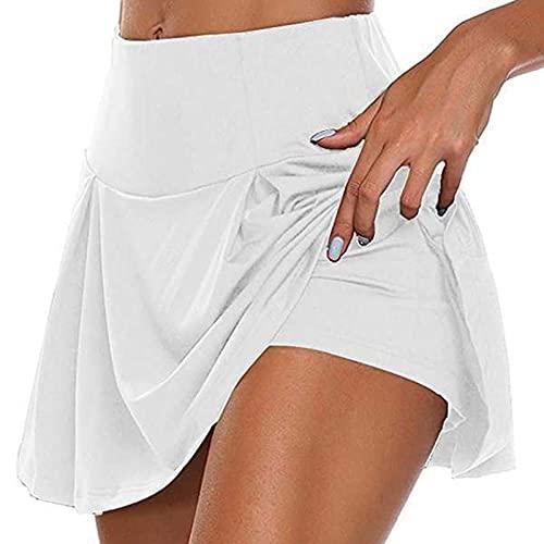 Skort Damen Golf Skorts Miniröcke Tennisröcke Innenshorts Elastische Sport Röcke Hohe Taille Stretch Workout Fitness Shorts Rock Laufrock Mit Innenshorts für Golf Tennis Training Gelegentlichen