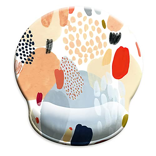 HOPONY Ergonomic Mouse Pad with Wrist Support Gel Mouse Pad with Wrist Rest, Comfortable Computer Mouse Pad for Laptop, Pain Relief Mousepad with Non-Slip Rubber Base, 9 x 10 in,Multi-Color Abstract