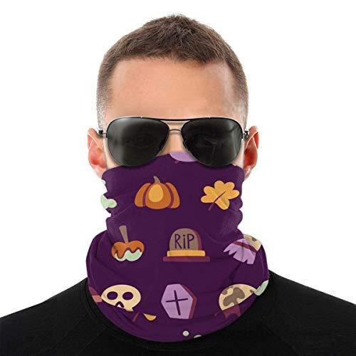 JONINOT Modello di Halloween Sciarpa per il viso unisex Bandana Anelli per l'orecchio Viso Rave Passamontagna Uomo Donna Ghette per il collo per polvere Vento Copertura per moto UV