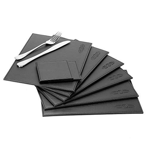 Set da tavola in ecopelle 12 pezzi | 6 tovagliette e 6 sottobicchieri | Tovagliette Di Natale | Set da tavola in pelle nera | Set di sottobicchieri | M&W