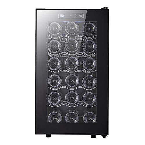 LLEH Refrigerador de Vino de 18 Botellas Bodega Independiente Nevera con Control de Temperatura Digital para Vino Tinto, Blanco, champán o espumoso - Negro