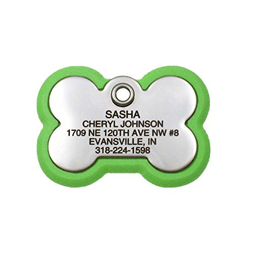 LuckyPet Pet ID Tag, Bone Frame Tag, Rugged Dog Tags with Colorful Frame, Custom Engraved, Large, Neon Green & Stainless