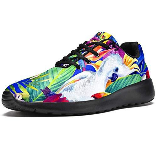 imobaby Sport-Laufschuhe für Damen, Papageien mit tropischen Blumen, Aquarell, modische Sneaker, Netzstoff, atmungsaktiv, Wandern, Tennisschuh, Mehrfarbig - mehrfarbig - Größe: 39 EU