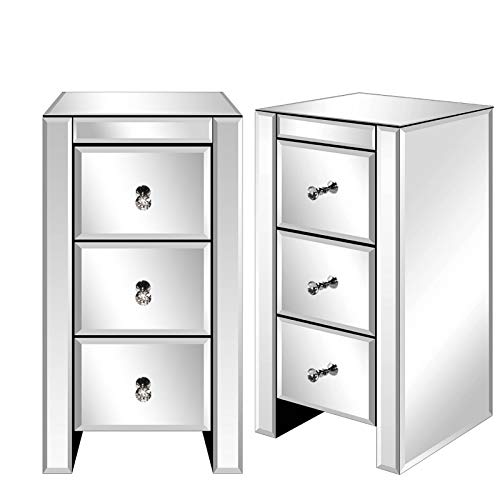 Alightup Mesita de Noche con Espejo y 3 cajones, Mueble de Cristal con Espejo para salón, Dormitorio, despacho, baño, 30 x 30 x 60 cm