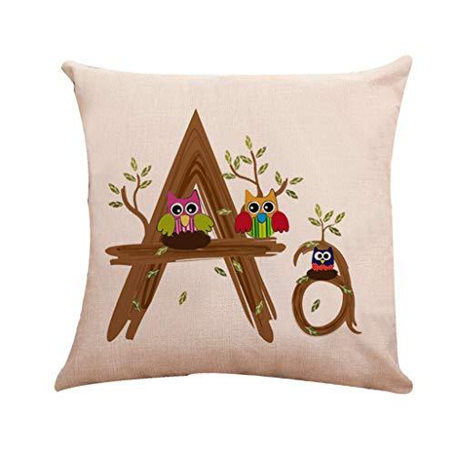 UFACE Mixtes Housses de Coussin Lin Imprimé Lettre A-Z Doux Carré 45x45 Zip démontable Lavables pourlaMaisonConfortable Taies d'oreillers décoratives,Cadeau de Valentine's Day