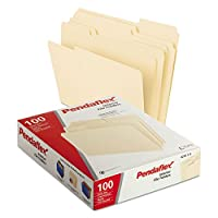 Interior File Folders, 1/3 Cut Top Tab, Letter, Manila 100/Box (並行輸入品)