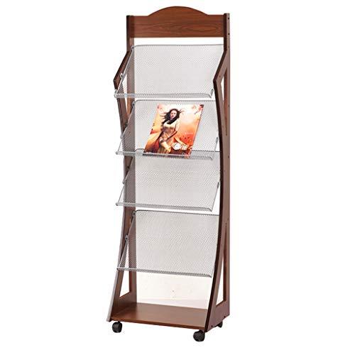 Wooden Mallet 4-Pocket Cascade Freistehender Zeitungsständer, Großer Mobiler Ausstellungsraum Für Literaturausstellungen, Verkaufsstand, Einzelhandelsgeschäft