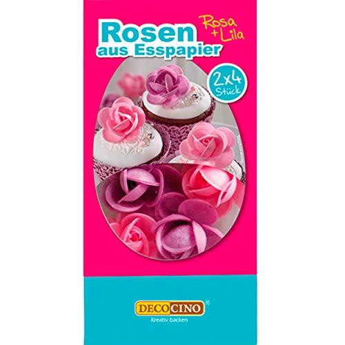 DECOCINO Rosen aus Esspapier Lila & Rosa (8 Stk.) – als essbare Blumen für Hochzeits-Deko & Geburtstags-Deko auf Torten, Kuchen, Cup-Cakes, Muffins!