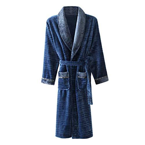 INSTO Manga para Hombre Albornoces Invierno Franela Larga Túnica Felpa Caliente de la Capa Pijamas Homewear suave y confortable/Azul/XL