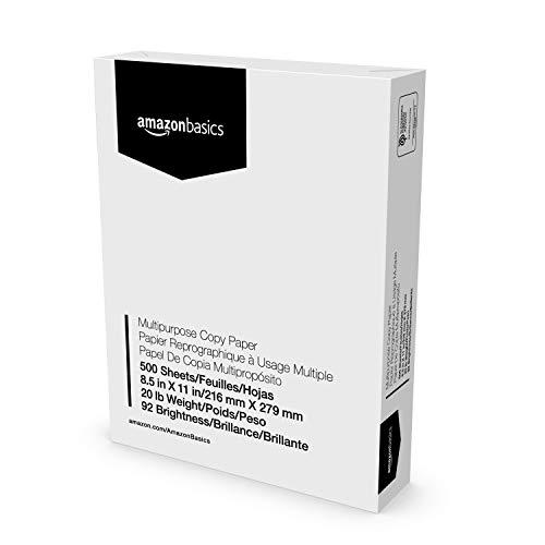 Amazon Basics Multipurpose Copy Printer Paper - White, 8.5 x 11 Inches, 1 Ream (500 Sheets)