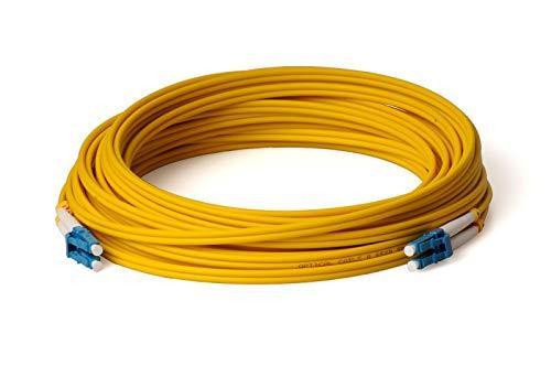 CONBIC® LWL Glasfaser-Kabel – 100m OS2 gelb, LC/UPC auf LC/UPC Stecker, Singlemode, Duplex 9/125 Patchkabel – Lichtwellenleiter 100 Meter (Indoor Cable)