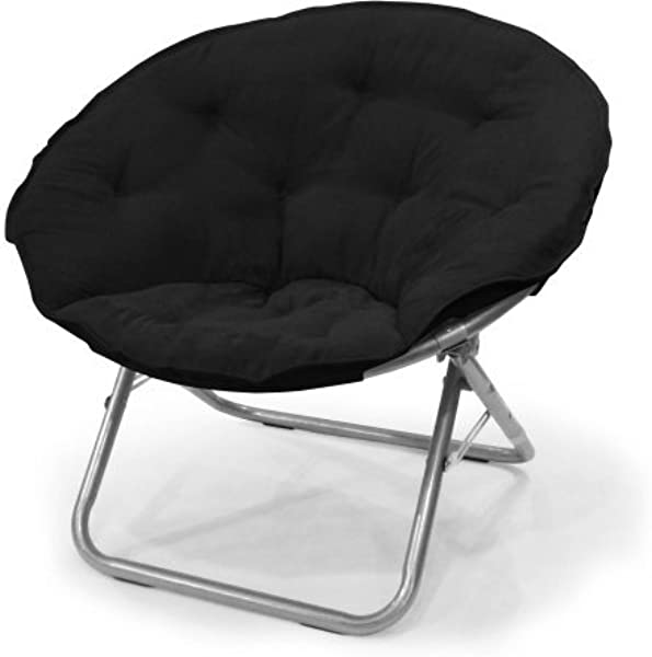 Urban Shop 225 Lbs Capacity Foldable Steel Frame Soft And Wide Seat Microsuede Saucer Large Folding Chair In Black