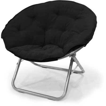 Comfortable Large Microsuede Saucer Chair, (Black)