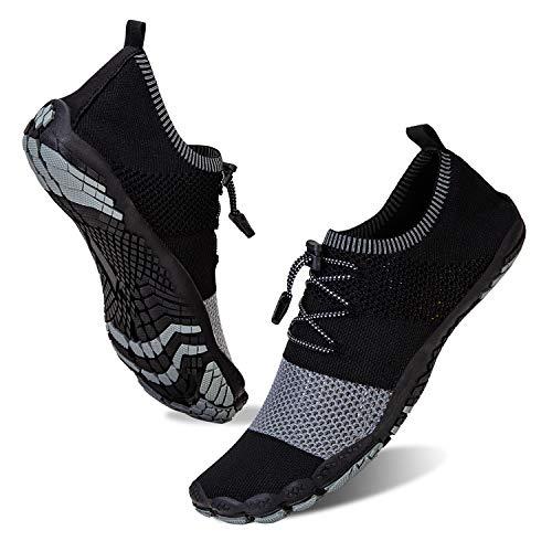 Herren Damen Outdoor Fitnessschuhe Barfußschuhe Trekking Schuhe Badeschuhe Schnell Trocknend rutschfest(Schwarze Asche,41)