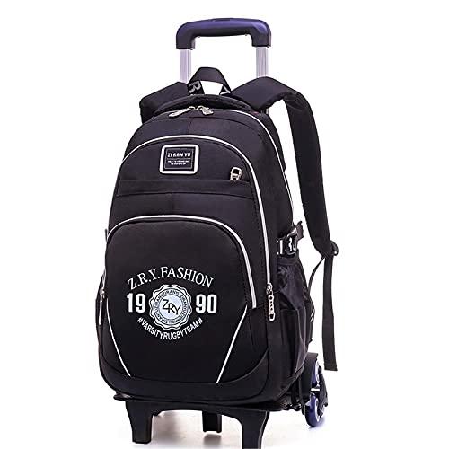 Mochila infantil con ruedas, impermeable, resistente al desgaste, mochila con ruedas desmontable, puede subir escaleras ZJ666 (color: A)