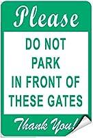 金属装飾ティンサイン、これらのゲートの前に駐車しないでくださいありがとう、塗装ティンサインヴィンテージ壁の装飾カフェバーパブホームバー装飾工芸品レトロヴィンテージサイン
