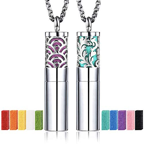 2PCS Essential Oil Diffuser Aromatherapy Pendant Necklace with 24 Inch Chain and 20 Felt Pads, Portable Perfume Locket Aromatherapy Jewelry Gift Set (Fan & Feather)