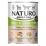 Naturo - Alimento para Perros Adultos Grain & Glutem Free con Pavo, arándanos Rojos, brócoli y Zanahorias en Salsa de Hierbas – Paquete de 12 x 390 g – Total 4680 g.