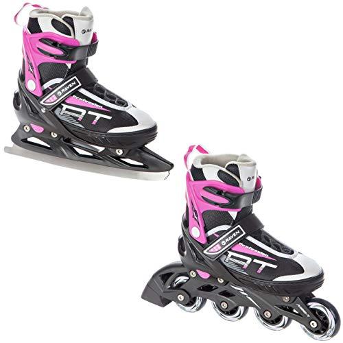 RAVEN 2in1 Schlittschuhe Inline Skates Inliner Profession Black/Pink verstellbar (38-42 (25cm-27,5cm))
