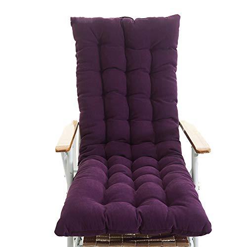 Be&xn Outdoor Recliner Chair cushion, Thicken High back Rocking Patio Lounge Stuhlkissen One-piece Nonslip long seat cushion-Deep purple 48x130cm(19x51inch)