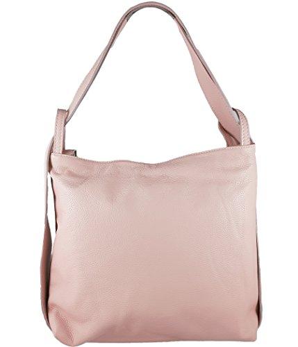 Freyday 2in1 Damen Handtasche Rucksack Designer Luxus Henkeltasche aus 100% Echtleder (Rosa)