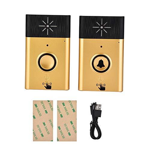 Radiotelefoons voor thuis, gouden deurbel op batterijen met 1 drukknopzender en 1 ontvanger
