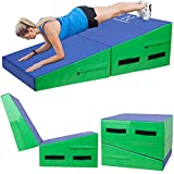 HALEDAZE 48'×24'×14' Folding Gymnastics Wedge Incline Mat for Female and Kid Home Training Tumbling Skill Mat