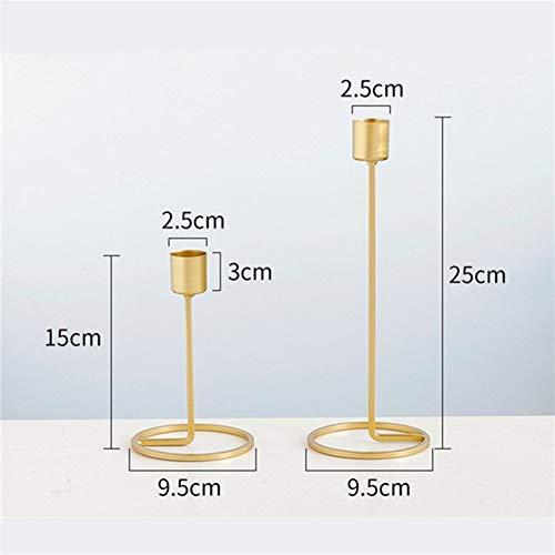Golden Size Metal Candlestick Set Decorative Candle Holders for Weddings, banquets, (Color : 1 Set)
