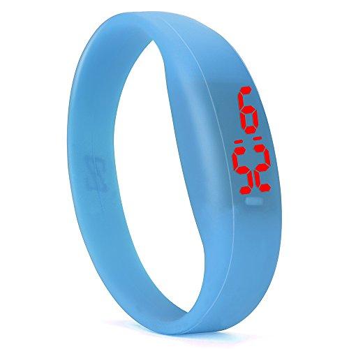 VECOLE Fitness Armband Mode Digital LED Sportuhr Unisex-Silikonuhr (Blau)