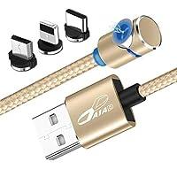 DAIAD マグネット 充電ケーブル 0.6m L字型 着脱式 マグネット コネクタ 360度回転 USB充電ケーブル 三端子対応 3in1 microusb iPhone Type-C 手元スッキリ 短い 充電ケーブル 60cm スマホゲームにピッタリの長さ (ゴールド)