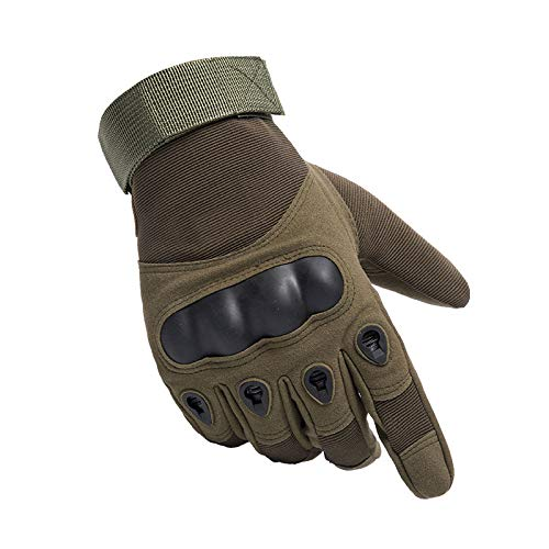 Tbrand DAZZLD Tactical Touchscreen Gloves Military Shooting Hunting Rubber Outdoor Gloves Motorcycle Gloves Touch Screen Full Finger Gloves Protection ArmyGreen XLarge