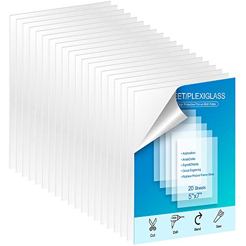 """KOODER 20 Pack of 5x7"""" Transparent Acrylic Sheet/PETG Sheet 0.040"""" Thick; Use for Crafting Projects, Picture Frames, Cricut and More; DIY Projects Picture Frame Glass Replacement Signs and Painting"""