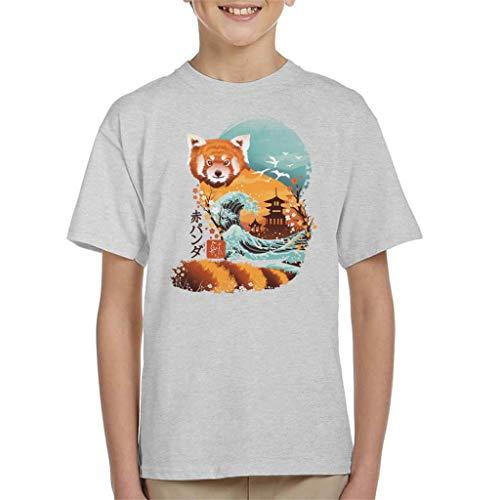 Ukiyo E Red Panda - Camiseta para niños gris 3-4 Años