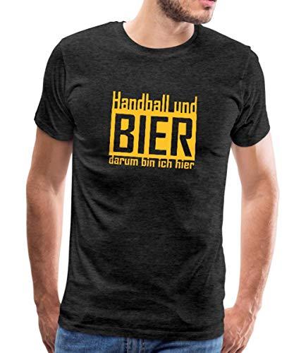 Handball Und Bier Spruch Männer Premium T-Shirt, XXL, Anthrazit