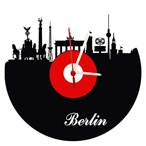 Wanduhr Berlin Schallplattenuhr mit Quarzwerk Berlin Skyline rot-weiß