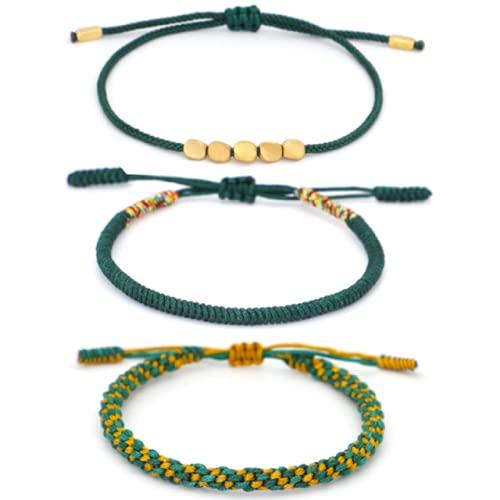 FIISH Pulsera de Cuerda a Mano con Cuentas de Cobre, brazaletes Multicapa Tejidos a Mano para Mujer, Pulsera Ajustable de Moda, Accesorios de joyería