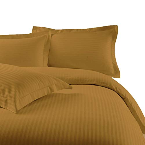 sheetsnthings Striped 300 Thread Count 100% Cotton 7PC California King Size Bedding Set (Bronze) 4PC Bed Sheets and 3PC Duvet Cover Set