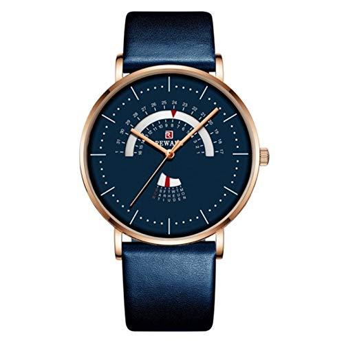 JCCOZ-URG Reloj para Hombres Lujo Impermeable de Acero Inoxidable Malla de Malla Reloj de Moda Fecha de Moda Date Reloj Chico URG (Color : Blue Add Box)