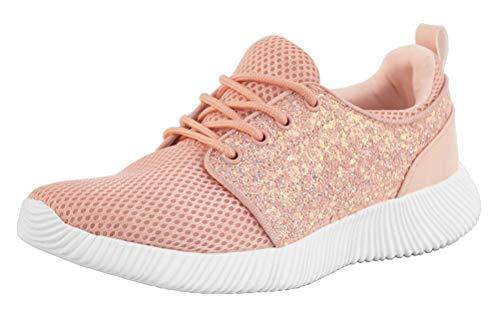 ROXY-ROSE Women Glitter Knit Tennis Sneakers | Breathable Lightweight Kicks Bomb Red White Sneakers (9 B(M) US, Pink)