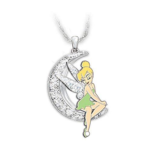 Accesorios Flor Collar de Cristal de la Luna Collares niñas Rhinestones alas del ángel de Hadas Colgante Collar Brillante de la Nueva joyería Regalo (Metal Color : White)