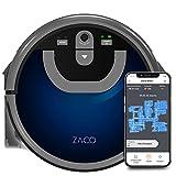 ZACO W450 Robot mopa con depósito Extra de Agua Fresca y Sucia (Nuevo en 2021), hasta 80 min de fregado en húmedo, Robot fregasuelos en húmedo para 60 m2, navegación por cámara, App y Alexa, Azul