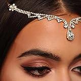 Cadena de cabeza de gota de agua con diamantes de imitación para la frente, con colgante de cristal, accesorios para el tocado, color metálico