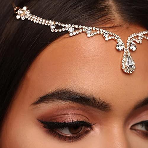 Rongxin Cadena de cabeza de gota de agua con diamantes de imitación para mujer, colgante de cristal de cadena para el cabello, accesorios de tocado (color metálico: oro)