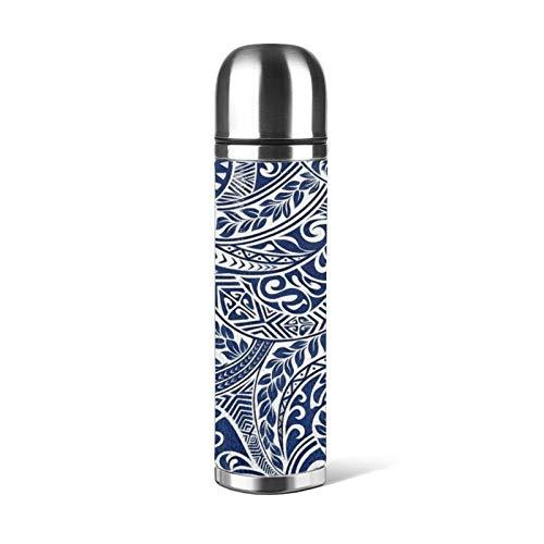 Taza de acero inoxidable con aislamiento térmico para botella de agua, taza de café, a prueba de fugas, diseño tribal hawaiano, para oficina o viajes al aire libre, 470 ml