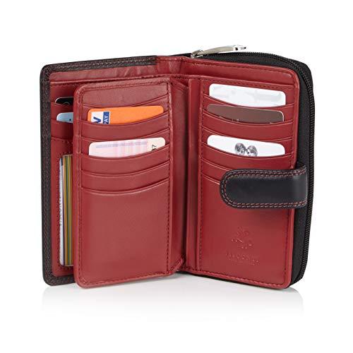 Visconti Bifold Leder Damen Geldbörse Colorado Combination Leather mehrfarbig Purse (CD-22) RFID, Schwarz/Rot (Black/Red), Large