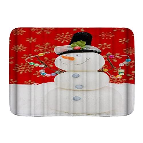 KASMILN Badematte,Winterferien Weihnachten Schneeflocken Schneemann Bowknot,Verdickte saugfähige rutschfeste Badezimmermatte, Türmatte
